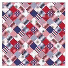 USA Americana Diagonal Red White & Blue Quilt Large Satin Scarf (Square)