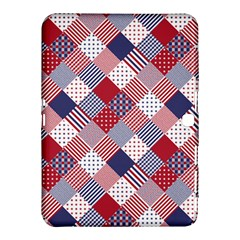 USA Americana Diagonal Red White & Blue Quilt Samsung Galaxy Tab 4 (10.1 ) Hardshell Case