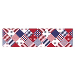 USA Americana Diagonal Red White & Blue Quilt Satin Scarf (Oblong)