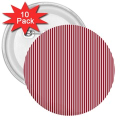 USA Flag Red and White Stripes 3  Buttons (10 pack)