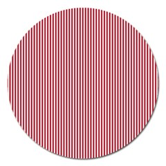 USA Flag Red and White Stripes Magnet 5  (Round)