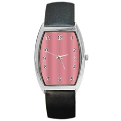 USA Flag Red and White Stripes Barrel Style Metal Watch