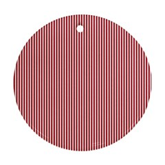 USA Flag Red and White Stripes Round Ornament (Two Sides)