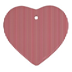 USA Flag Red and White Stripes Heart Ornament (Two Sides)