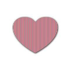 USA Flag Red and White Stripes Rubber Coaster (Heart)