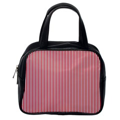 USA Flag Red and White Stripes Classic Handbags (One Side)