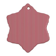 USA Flag Red and White Stripes Snowflake Ornament (Two Sides)