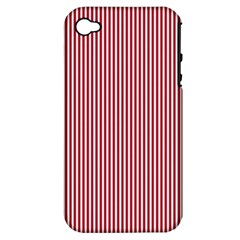 USA Flag Red and White Stripes Apple iPhone 4/4S Hardshell Case (PC+Silicone)