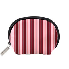 USA Flag Red and White Stripes Accessory Pouches (Small)