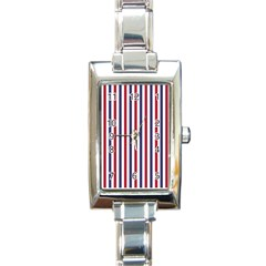 USA Flag Red White and Flag Blue Wide Stripes Rectangle Italian Charm Watch