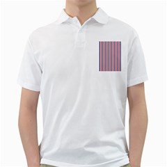 USA Flag Red White and Flag Blue Wide Stripes Golf Shirts