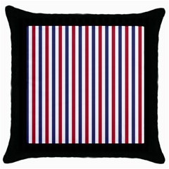 USA Flag Red White and Flag Blue Wide Stripes Throw Pillow Case (Black)