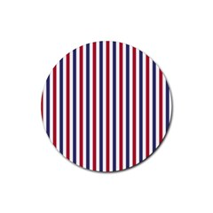 USA Flag Red White and Flag Blue Wide Stripes Rubber Coaster (Round)