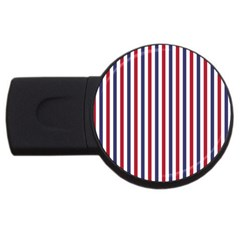 USA Flag Red White and Flag Blue Wide Stripes USB Flash Drive Round (2 GB)