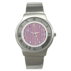 USA Flag Red White and Flag Blue Wide Stripes Stainless Steel Watch