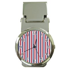 USA Flag Red White and Flag Blue Wide Stripes Money Clip Watches