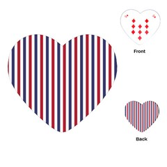 USA Flag Red White and Flag Blue Wide Stripes Playing Cards (Heart)