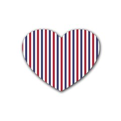 USA Flag Red White and Flag Blue Wide Stripes Rubber Coaster (Heart)