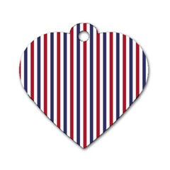 USA Flag Red White and Flag Blue Wide Stripes Dog Tag Heart (Two Sides)