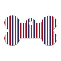 USA Flag Red White and Flag Blue Wide Stripes Dog Tag Bone (Two Sides)