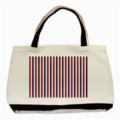 Usa Flag Red White And Flag Blue Wide Stripes Basic Tote Bag (two Sides)