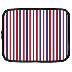 USA Flag Red White and Flag Blue Wide Stripes Netbook Case (Large)