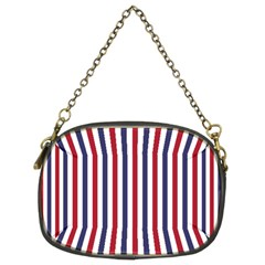 USA Flag Red White and Flag Blue Wide Stripes Chain Purses (Two Sides)