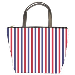 USA Flag Red White and Flag Blue Wide Stripes Bucket Bags