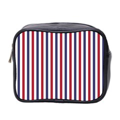USA Flag Red White and Flag Blue Wide Stripes Mini Toiletries Bag 2-Side