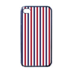 USA Flag Red White and Flag Blue Wide Stripes Apple iPhone 4 Case (Black)