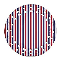 USA Flag Red White and Flag Blue Wide Stripes Round Filigree Ornament (Two Sides)