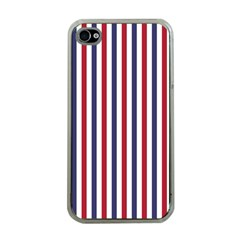 USA Flag Red White and Flag Blue Wide Stripes Apple iPhone 4 Case (Clear)