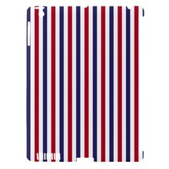 USA Flag Red White and Flag Blue Wide Stripes Apple iPad 3/4 Hardshell Case (Compatible with Smart Cover)
