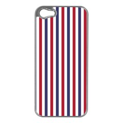 USA Flag Red White and Flag Blue Wide Stripes Apple iPhone 5 Case (Silver)