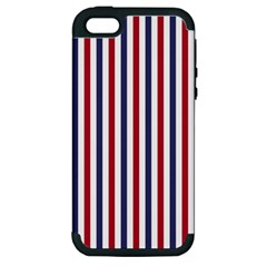 USA Flag Red White and Flag Blue Wide Stripes Apple iPhone 5 Hardshell Case (PC+Silicone)