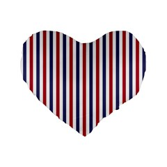 USA Flag Red White and Flag Blue Wide Stripes Standard 16  Premium Heart Shape Cushions