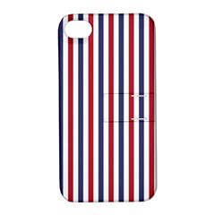 USA Flag Red White and Flag Blue Wide Stripes Apple iPhone 4/4S Hardshell Case with Stand