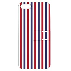 USA Flag Red White and Flag Blue Wide Stripes Apple iPhone 5 Hardshell Case with Stand
