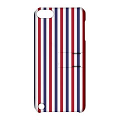 USA Flag Red White and Flag Blue Wide Stripes Apple iPod Touch 5 Hardshell Case with Stand