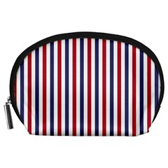 USA Flag Red White and Flag Blue Wide Stripes Accessory Pouches (Large)
