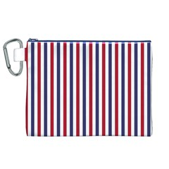USA Flag Red White and Flag Blue Wide Stripes Canvas Cosmetic Bag (XL)