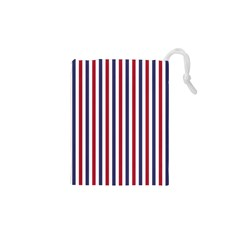 USA Flag Red White and Flag Blue Wide Stripes Drawstring Pouches (XS)