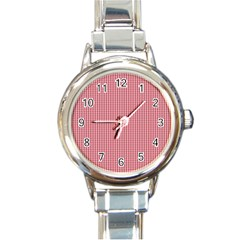Usa Flag Red And White Gingham Checked Round Italian Charm Watch