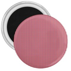USA Flag Red and White Gingham Checked 3  Magnets