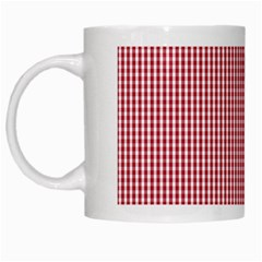 USA Flag Red and White Gingham Checked White Mugs