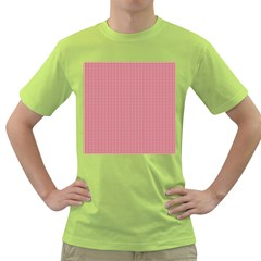 USA Flag Red and White Gingham Checked Green T-Shirt