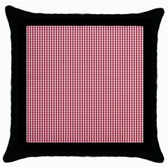 Usa Flag Red And White Gingham Checked Throw Pillow Case (black)