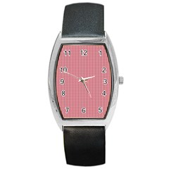 USA Flag Red and White Gingham Checked Barrel Style Metal Watch