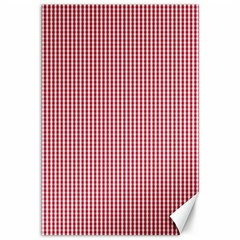 USA Flag Red and White Gingham Checked Canvas 12  x 18