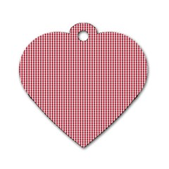 USA Flag Red and White Gingham Checked Dog Tag Heart (Two Sides)